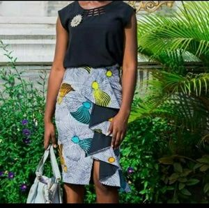 Ethnic Ankara Skirt with drop down ruffles